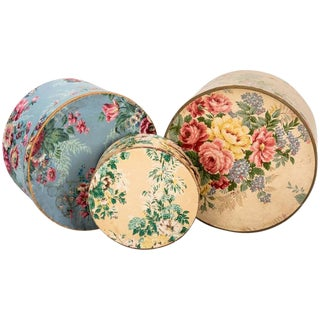 Antique Wallpaper Covered Band Boxes For Sale