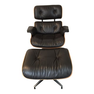 Charles and Ray Eames Classic Armchair and Ottoman For Sale