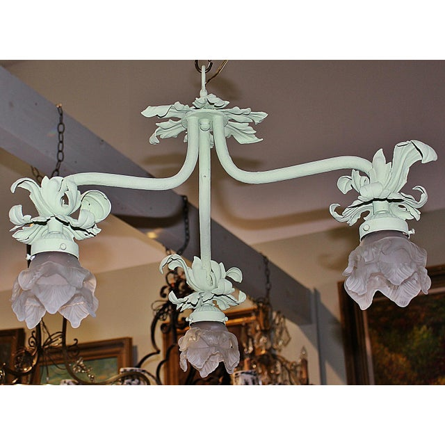 Metal 1920s Painted French Wrought Iron Chandelier For Sale - Image 7 of 7