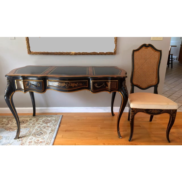 Drexel Chinoiserie Leather Writing Desk & Chair - Image 2 of 11