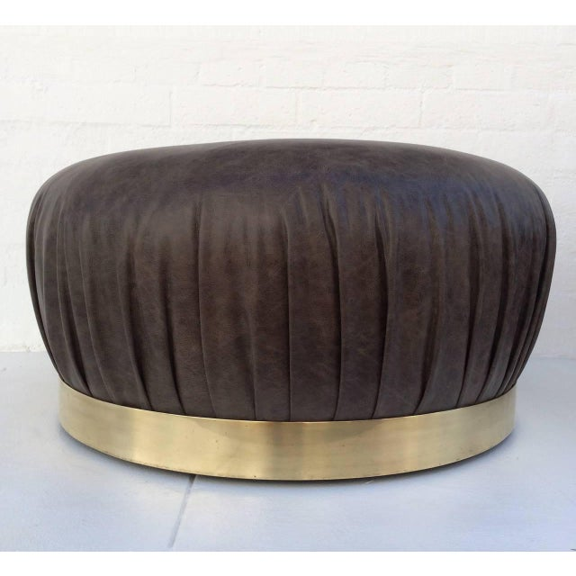 Large-Scale Leather and Brass Ottoman by Karl Springer - Image 2 of 6