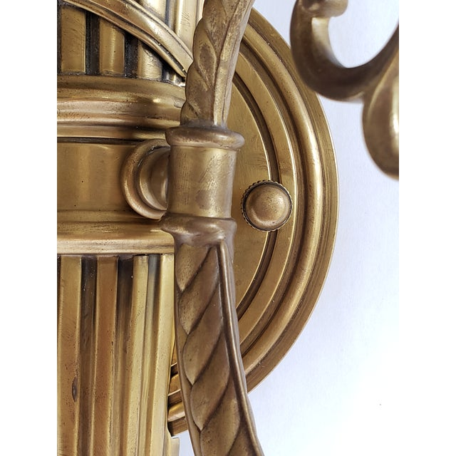 """This pair of """" Hatfield"""" Decorative Crafts Inc. antiqued solid brass wall sconces are hand crafted from solid brass and..."""
