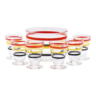 Mid Century Striped Ice Bucket & Six Glasses - Set of 7 For Sale