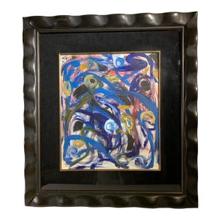 """1940s """"Evening Study Five"""" Abstract Expressionist Mixed-Media Painting, Framed For Sale"""