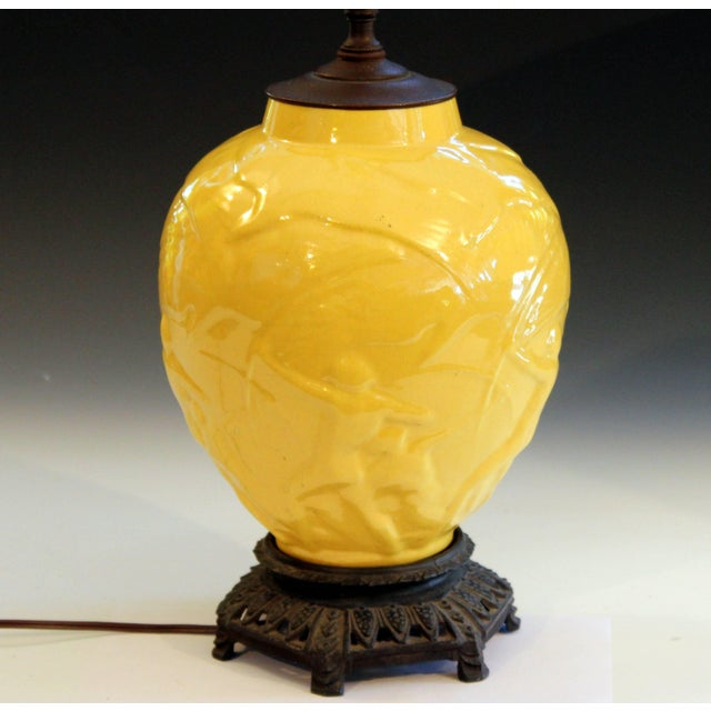 """Early 20th Century Vintage Stangl Art Deco Pottery """"Archers"""" Atomic Yellow Large Globe Vase Lamp For Sale - Image 5 of 11"""
