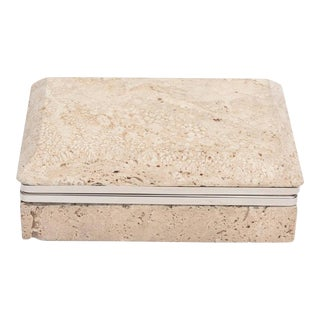 Vintage Italian Travertine Stone and Nickel Silver Hinged Box For Sale
