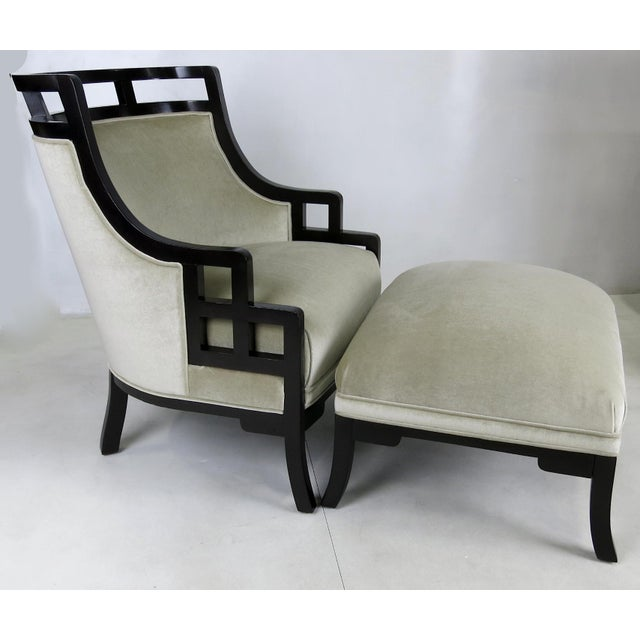 Rare Wallis Simpson chair with matching ottoman by Jay Spectre. Ground up restoration includes regluing, refinishing, and...