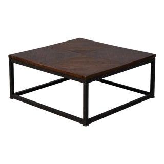 Sarreid Parquet Low Table, Dark Brown, 36 X 36 For Sale