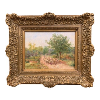19th Century French Sheep Oil Painting in Carved Gilt Frame Signed F. Chaigneau For Sale