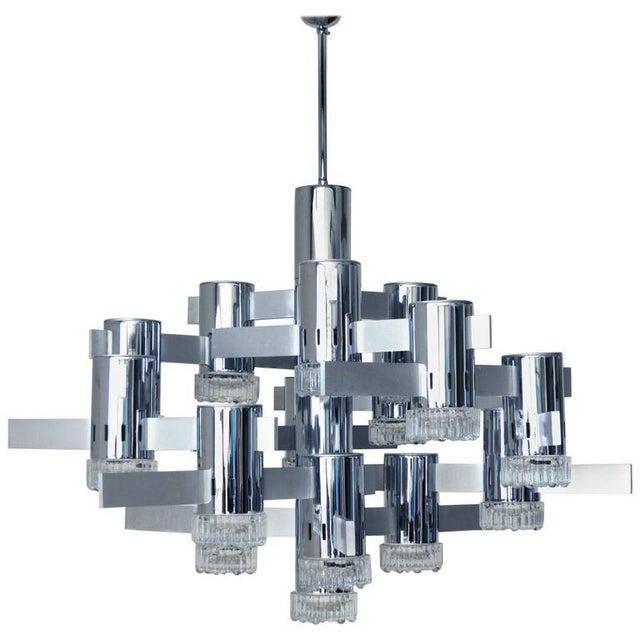 Silver Italian Mid-Century Chandelier by Sciolari For Sale - Image 8 of 8