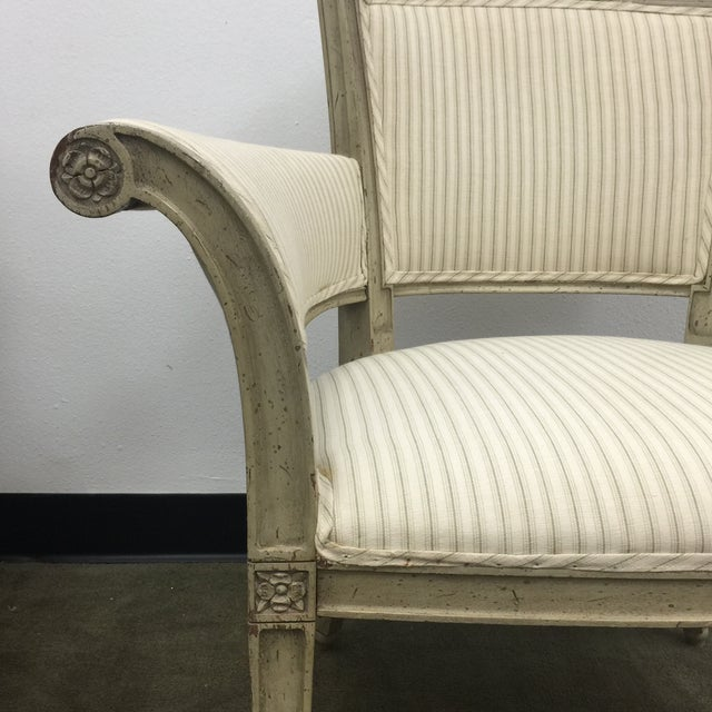 Antique Flare Arm Chairs in Rose Tarlow Fabric - A Pair - Image 6 of 8