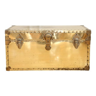 Vintage Brass Metal Trunk Coffee Table For Sale