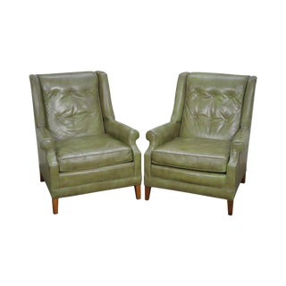 Vintage Pair of Green Leather Tufted Back Lounge Chairs by Gallery Crafts For Sale