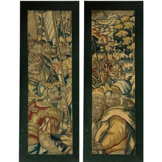 17th Century Belgian Tapestry Mounted Panels - a Pair For Sale