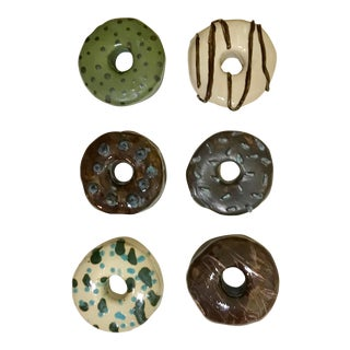 Handmade Ceramic Wall Donuts - Set of 6 For Sale