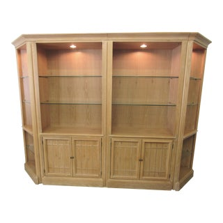 Thomasville 4 Piece Blonde Oak Bookcase Display Case For Sale