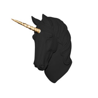 "Wall Charmers ""The Luna"" Faux Black + Gold Magical Unicorn Head Wall Hanging For Sale"