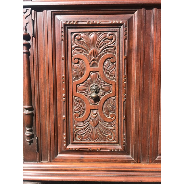Wood Art Nouveau Walnut Hutch by Berkey and Gay For Sale - Image 7 of 12