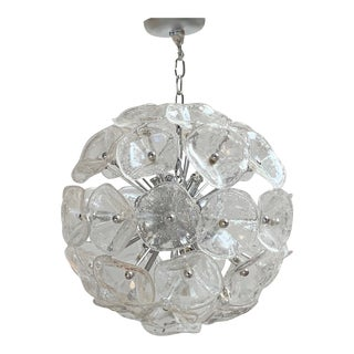 "20"" Fiori Murano Glass Pendant Orb Ceiling Light For Sale"