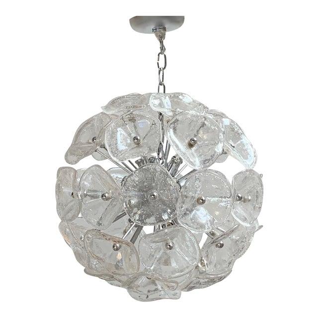"20"" Fiori Murano Glass Pendant Orb Ceiling Light For Sale"