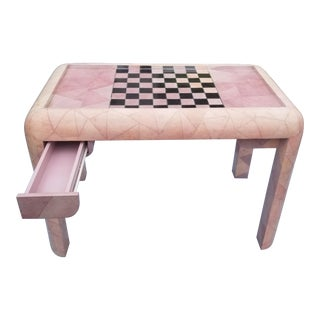 Karl Springer Died Pink Shagreen, Mother of Pearl and Onyx Game Table For Sale
