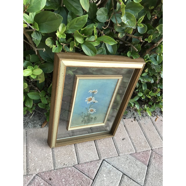 Very interesting and unique,Midcentury original painting of summer daisies. Mounted in a double glass frame. Measure 16...