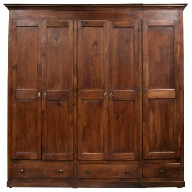Monumental French Louis Philippe Period Cherry Placard or Wardrobe For Sale - Image 12 of 12