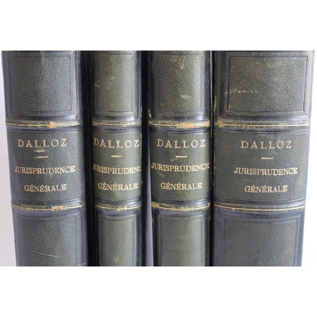 French 19th Century Antique Leather Bound Books Dalloz Jurisprudence - Set of 4 For Sale - Image 3 of 7