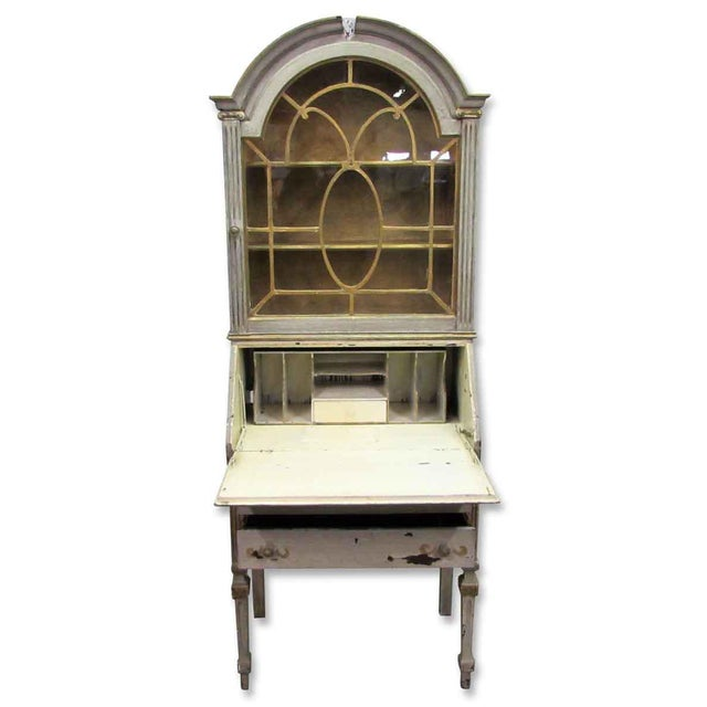 Country Antique Secretary Desk & Cabinet Duo For Sale - Image 3 of 10