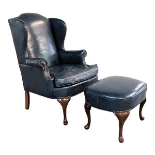 Vintage Navy Blue Leather Wingback Chair With Ottoman For Sale