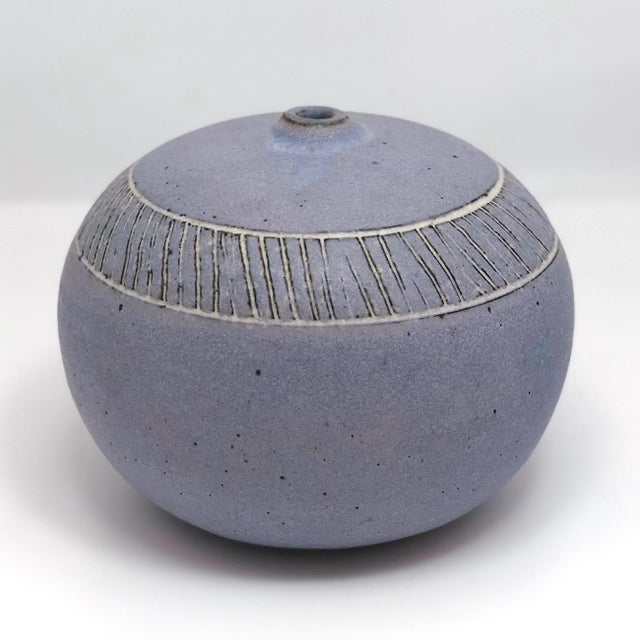 Pale Purple Weed Vase With Sgraffito Decoration For Sale - Image 4 of 13