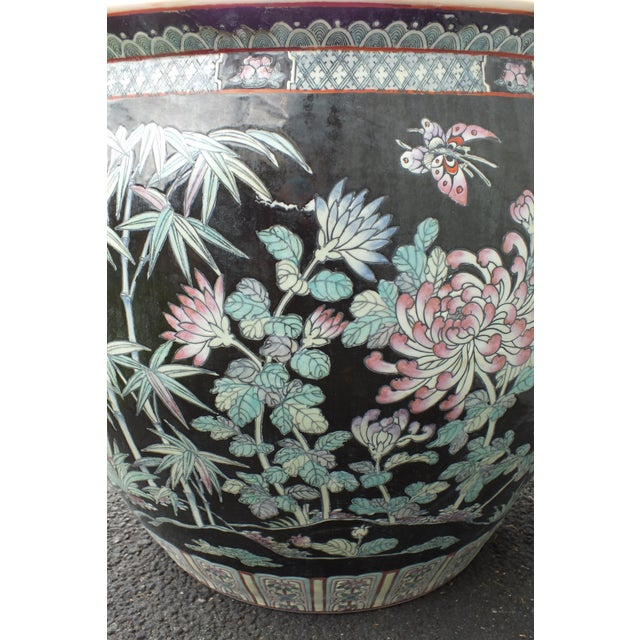 Qianlong Chinese Famille Noir Fish Bowl Planter For Sale In New York - Image 6 of 11