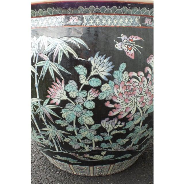 Qianlong Chinese Famille Noir Fish Bowl Planter - Image 6 of 11