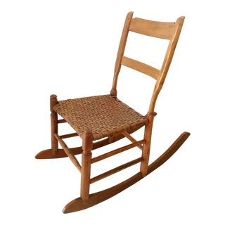 Antique New England Armless Rocker Sewing Rocking Chair For Sale