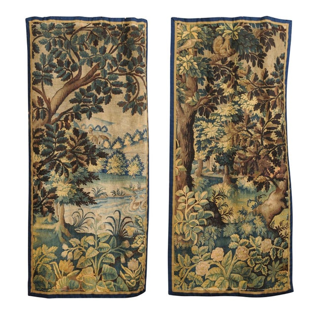 Pair of 19th Century French Handmade Vertical Tapestries with Pastoral Scenes For Sale - Image 12 of 12