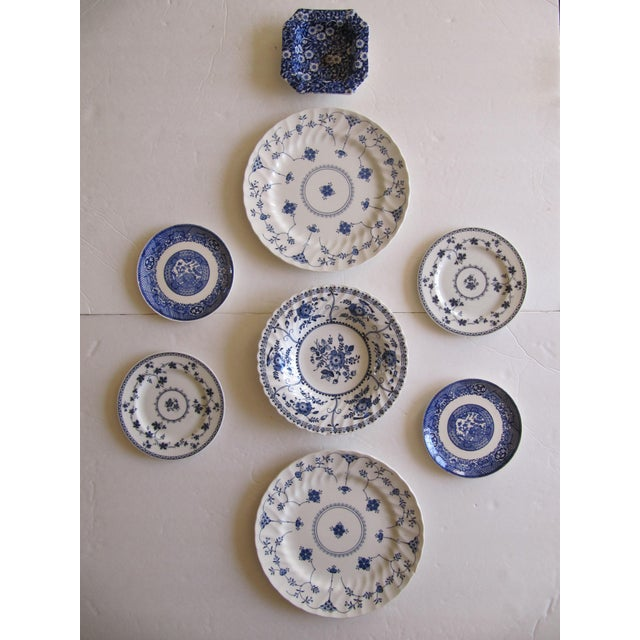 Blue & White Transfer-Ware Plates- 8 Pieces For Sale - Image 6 of 6