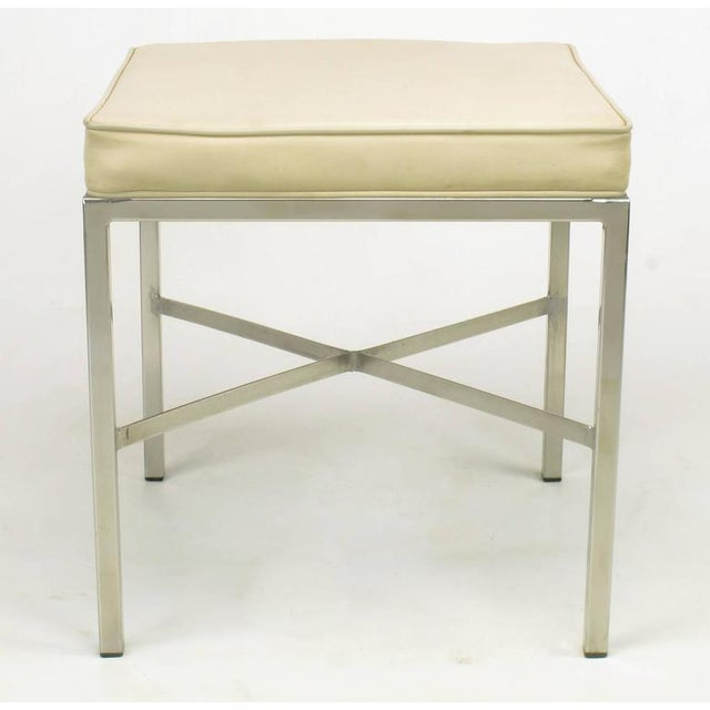 Pair of Polished Steel X-Stretcher Benches in Complementary Faux Leather - Image 10 of 10