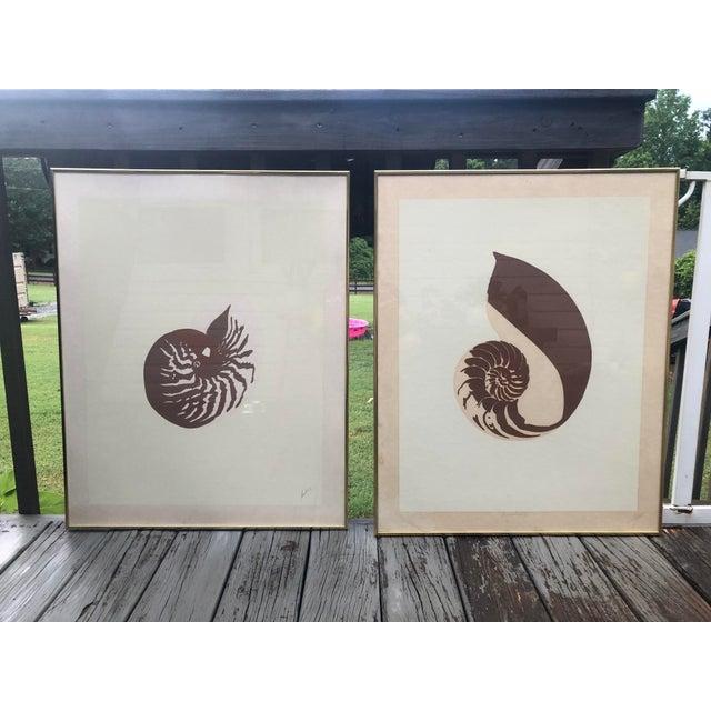 Vintage Van Guard Studio Nautilus Shell Lithographs - a Pair For Sale - Image 9 of 9