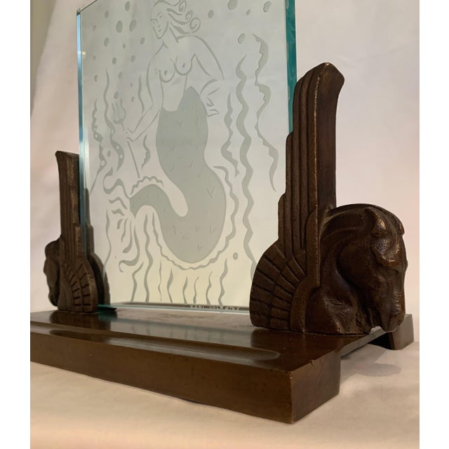 1920s Art Deco Glass Panel on Bronze Base For Sale - Image 4 of 13