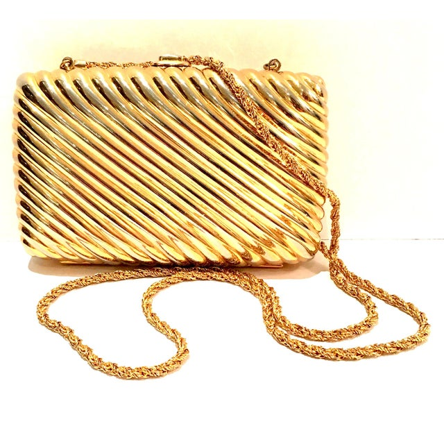 20th Century Gold Gilt Ribbed minaudiere box clutch evening bag by, Judith Leiber. This Classic & Timeless Judith Leiber...