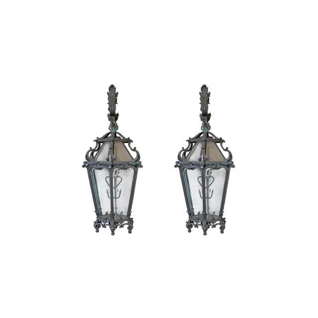 Pair of Monumental Louis XV Style Bronze Gas Lanterns For Sale