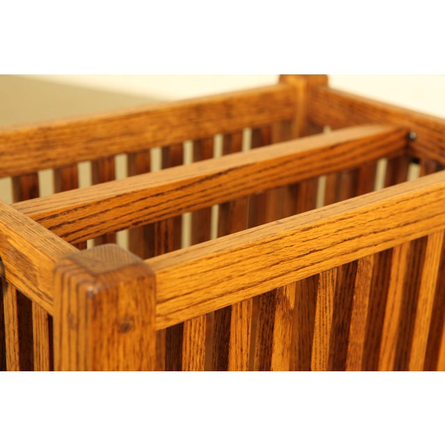 1990s Mission Style Solid Oak Magazine Stand For Sale - Image 5 of 12