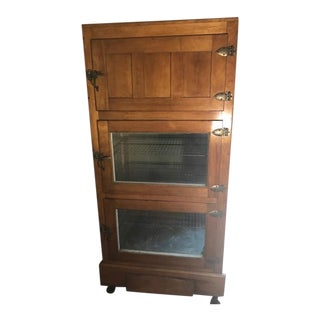 Antique Glass-Sided Commercial Icebox For Sale