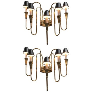 "Pair of French Bronze Candelabra Sconces in the ""Empire"" Style For Sale"