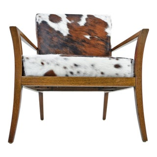 Restored Robsjohn-Gibbings Style Flared Arm Mahogany Lounge Chair in Cowhide For Sale
