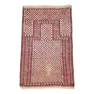 Shabby Chic Early 20th Century Handmade Antique Central Asian Turkoman Tribal Flatweave Kilim Throw Rug For Sale