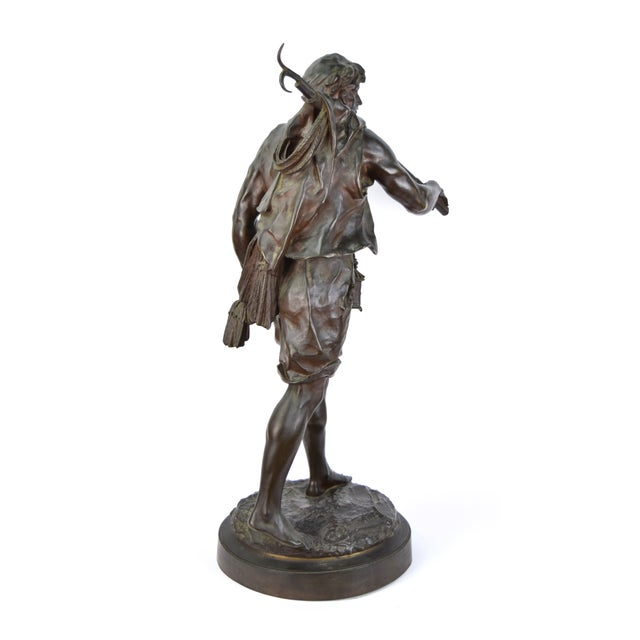 """Late 19th Century """"The Whaler"""" Antique Emile Louis Picault French Bronze Sculpture For Sale - Image 5 of 9"""