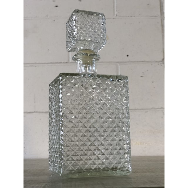 Vintage 1960s square diamond point glass decanter. No marks.