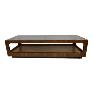 1960s Mid-Century Modern Lane Walnut and Smoked Glass Coffee Table For Sale