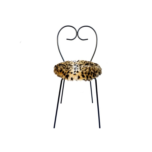 Mid-Century Heart Shaped Metal & Leopard Faux Fur Vanity Chair - Image 2 of 11